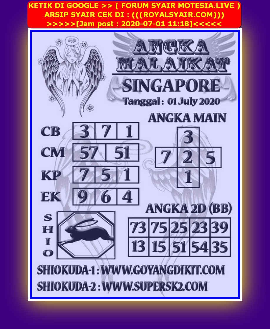 Kode syair Singapore Rabu 1 Juli 2020 160