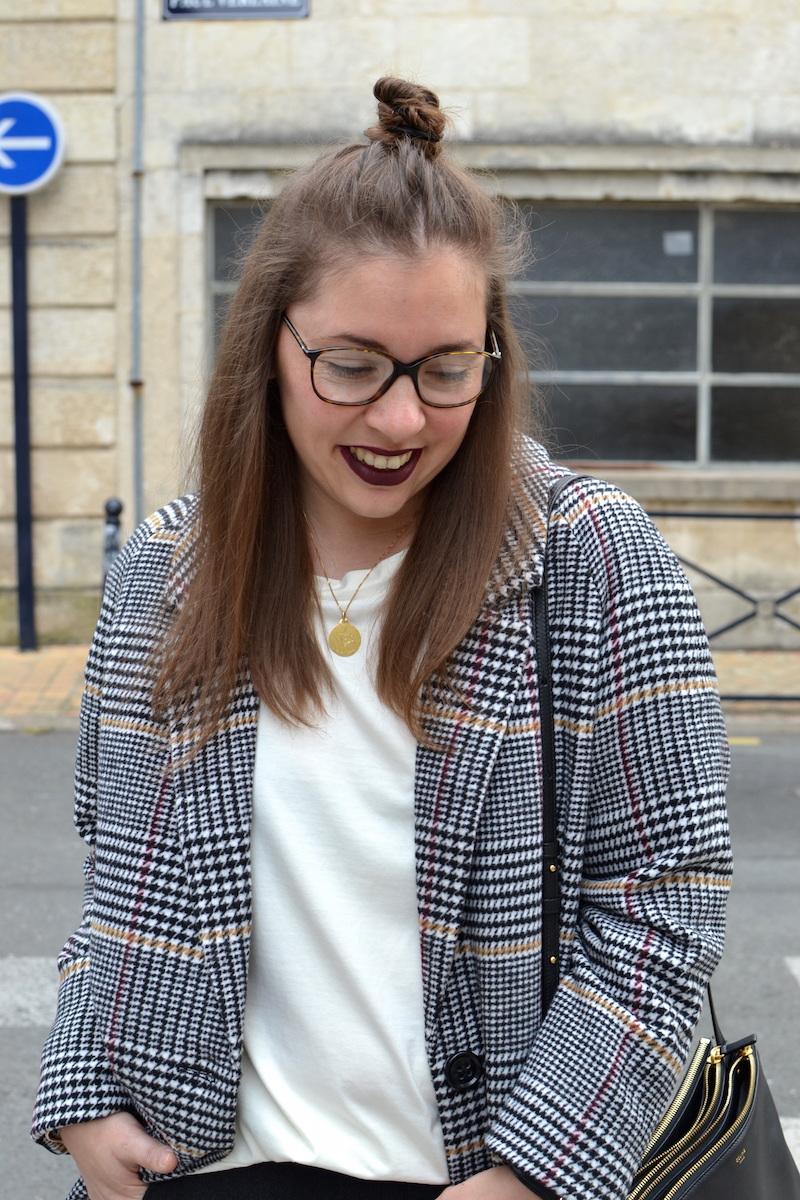 half fun, manteau pied de poule La Redoute, top blanc Zara