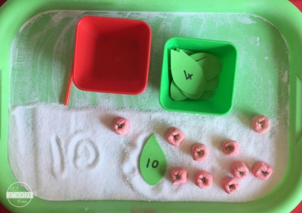 kindergarten math activity for fall, counting apples