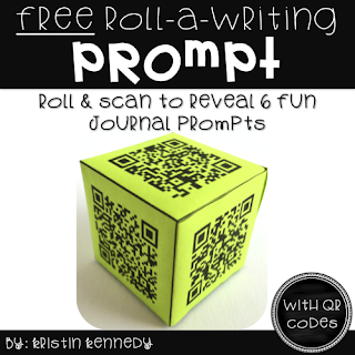 FREE Writing Prompt QR Code Cube for kids. Easy and engaging way to integrate technology and in the elementary classroom. Find this and tons of other freebies, ideas and activities for using QR codes in the classroom here.