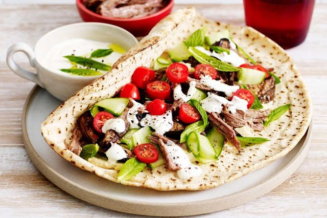 Slow-cooked lamb flatbreads with lemon yoghurt