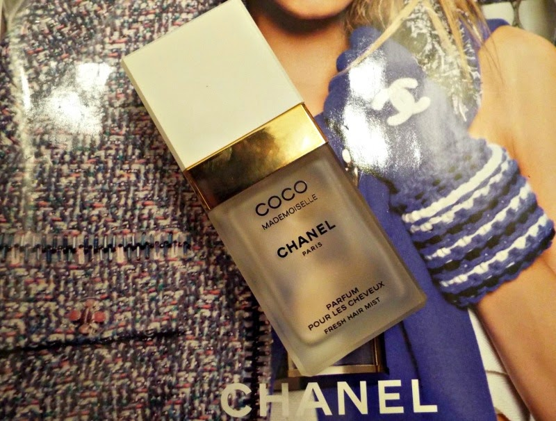 A frosted glass bottle of Chanel Coco Mademoiselle Hair Mist