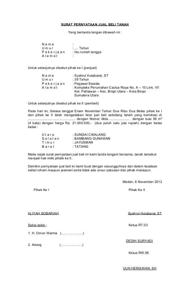 contoh surat perjanjian jual beli singkat