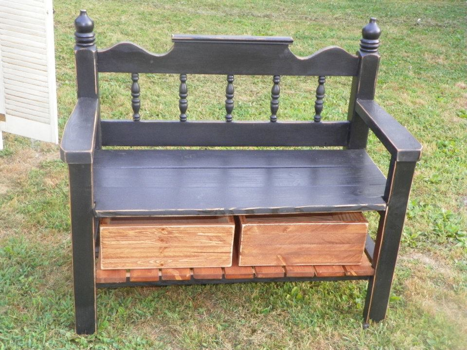 totally cute bench made from twin headboard and footboard