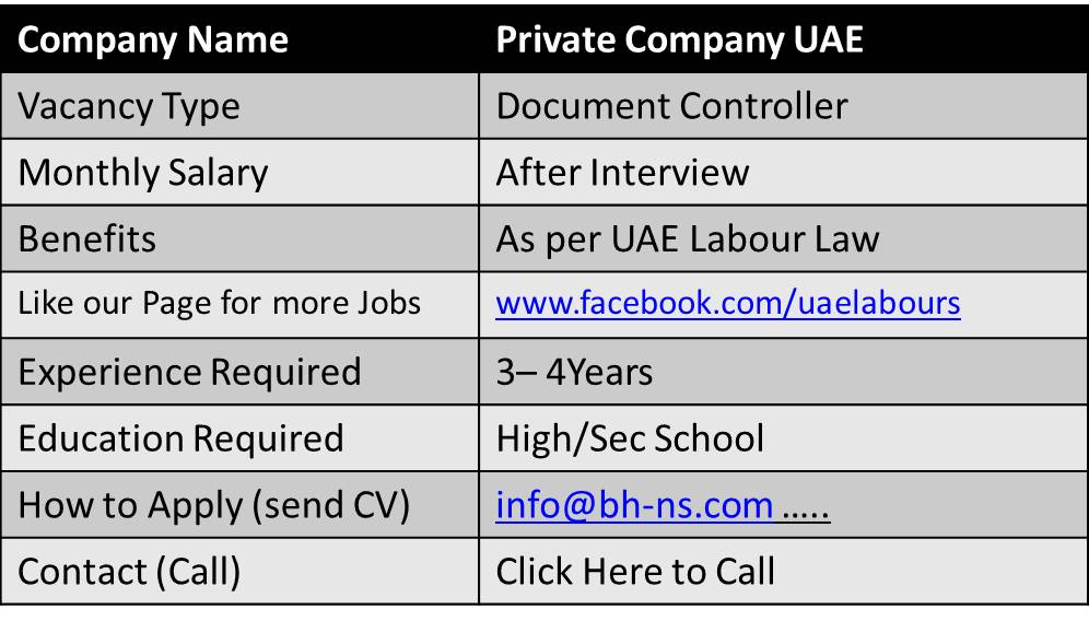 Document Controller Jobs In Uae  Document Controller