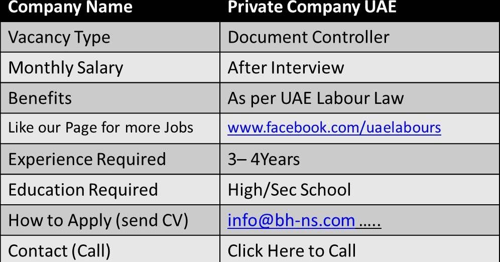 Document Controller Jobs in UAE - UAE LABOURS