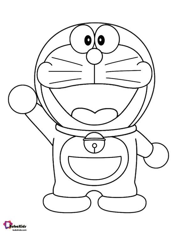 Tranh cho bé tô màu Doraemon giơ tay chào