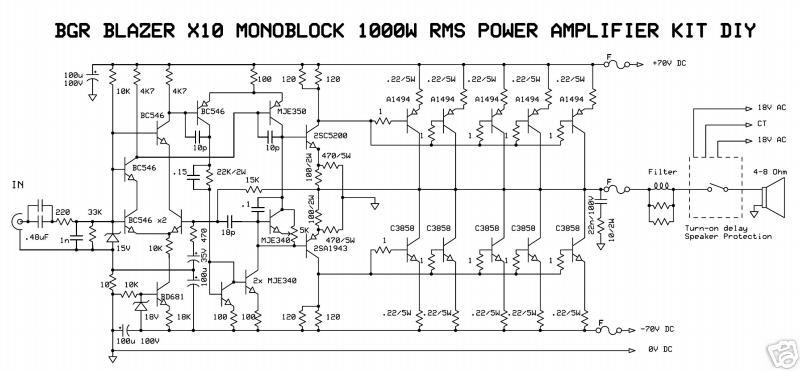 1000W Monoblock Power Amplifier Electronic Circuit