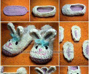 """Como tejer patucos """"Conejitos"""" al crochet paso a paso DIY"""