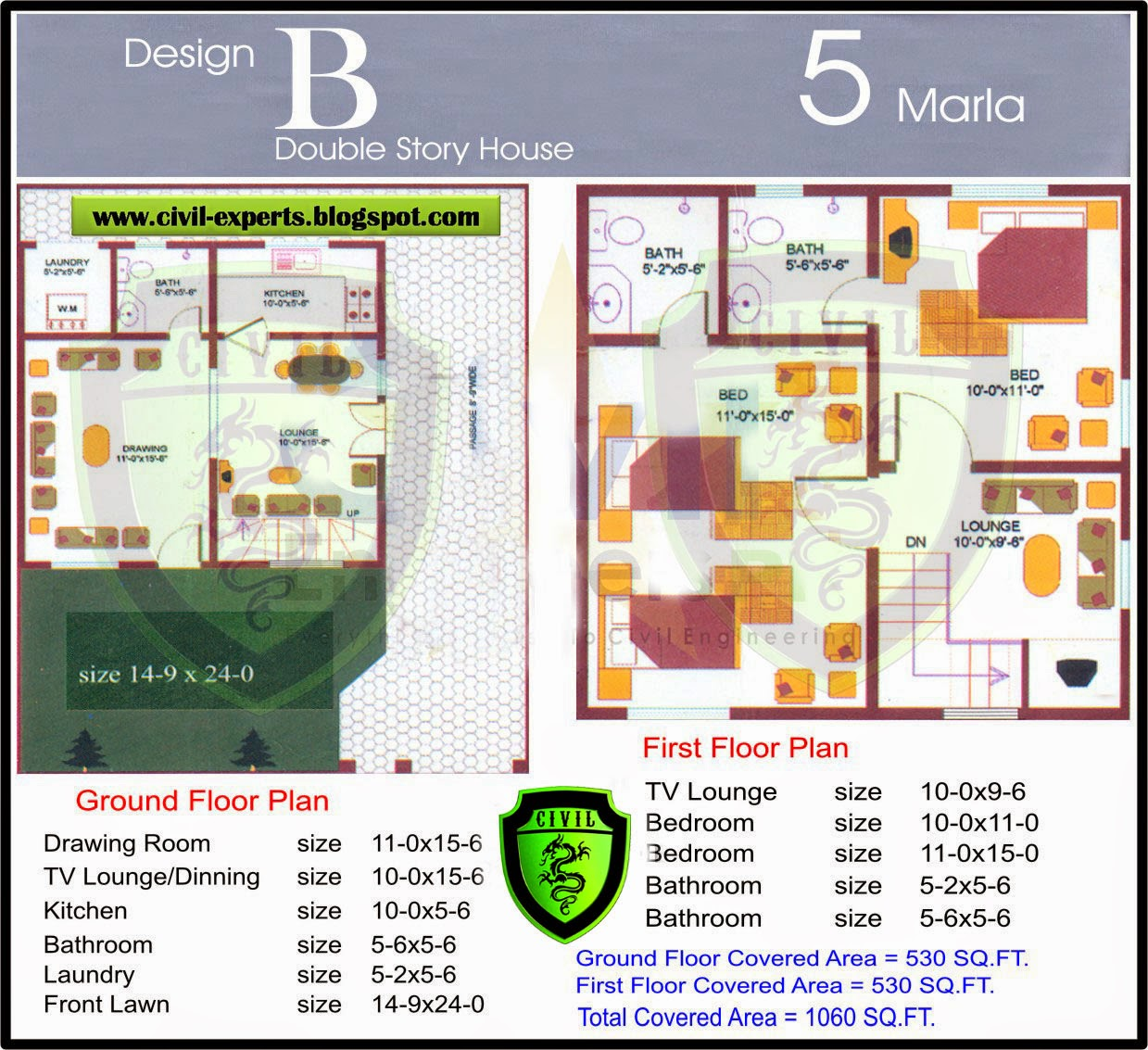Civil Experts: 5 Marla Houses Plans