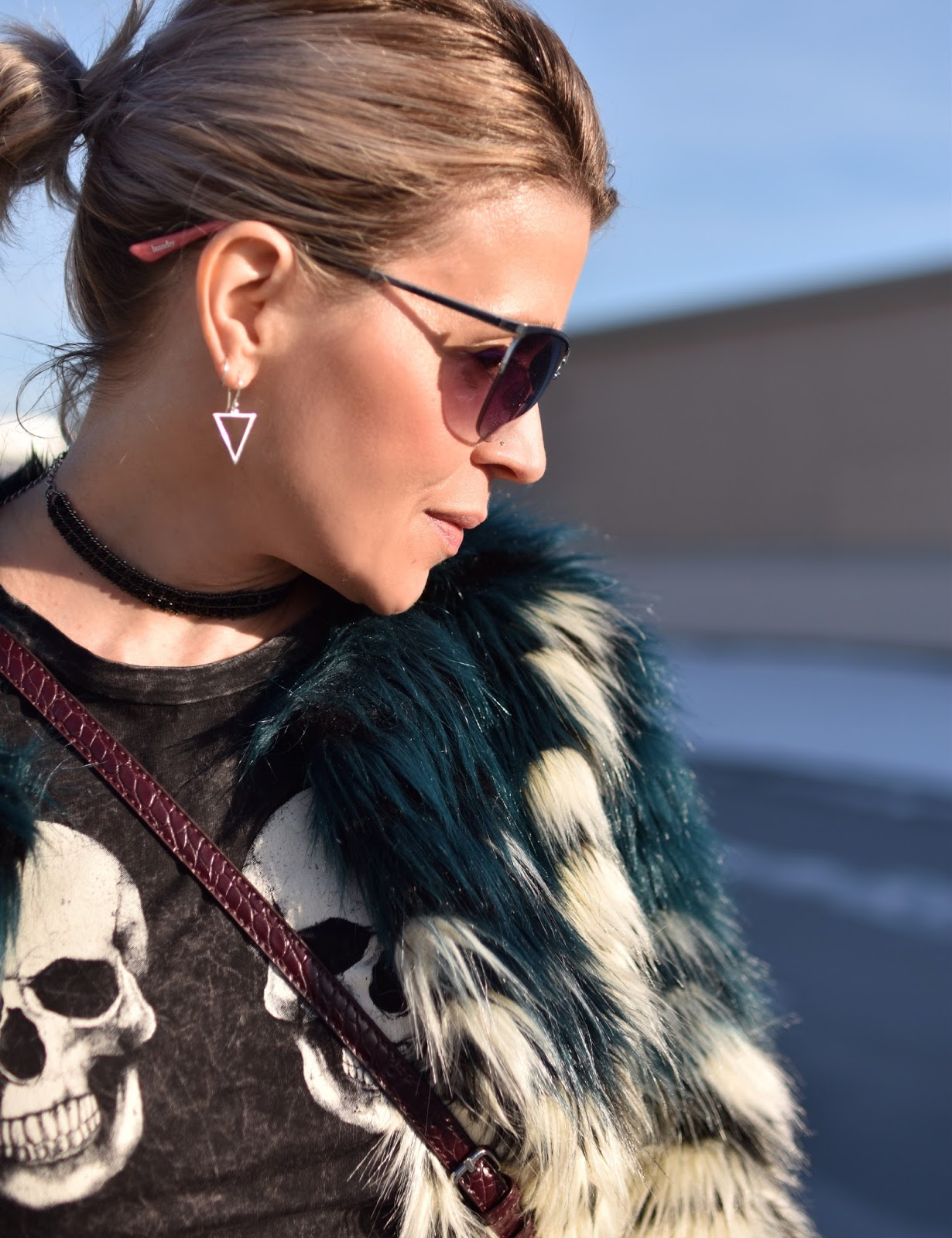 Monika Faulkner outfit inspiration - colour-blocked faux-fur jacket, wire-framed sunglasses