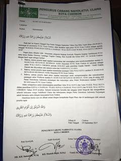 pengurus pcnu kota cirebon minta surat dukungan ke bamunas dicabut
