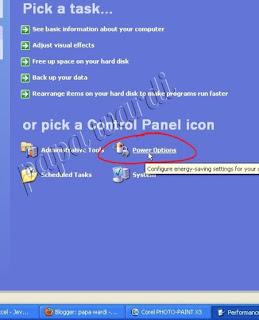 Control Panel, Power Option