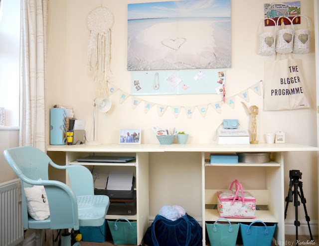 bllue and cream craft room