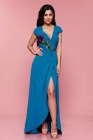 Rochie petrecuta eleganta Artista turcoaz cu insertii de broderie