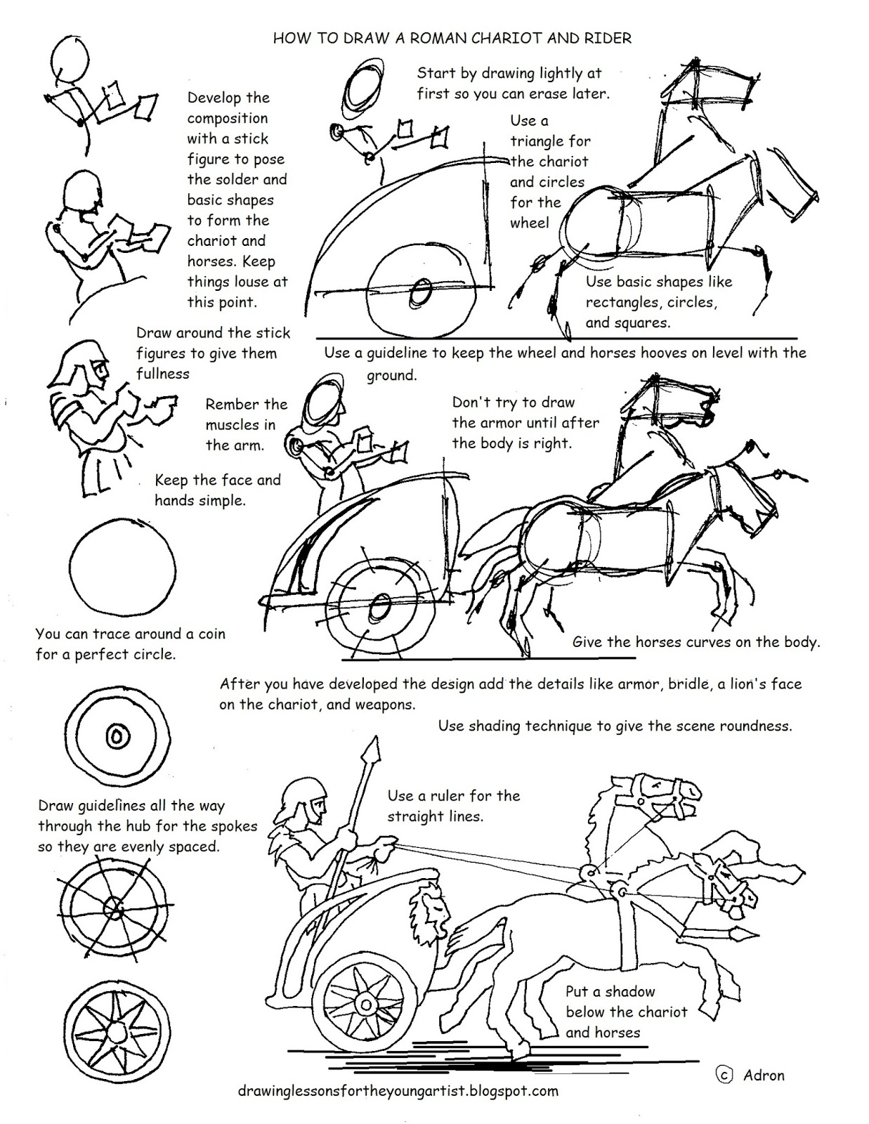 worksheet Art Worksheet how to draw worksheets for the young artist a roman chariot worksheet