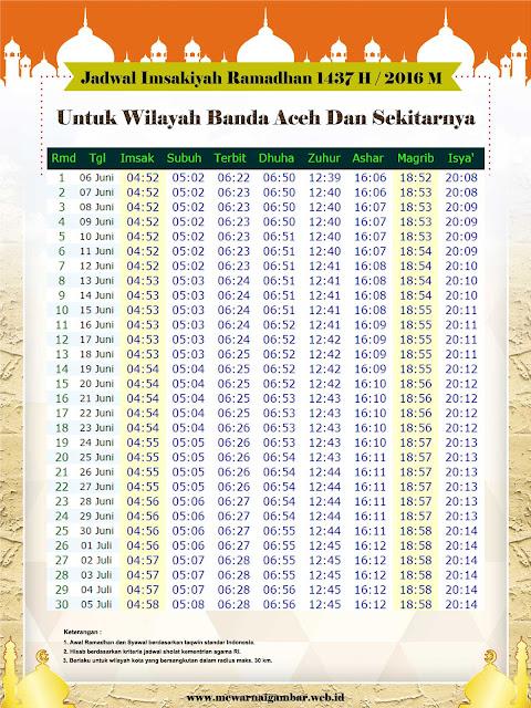 Jadwal Imsakiyah Ramadhan Banda Aceh 2016 / 1437 H