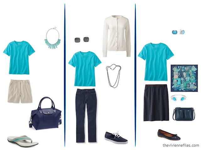 Three capsule wardrobe outfits including a turquoise tee shirt