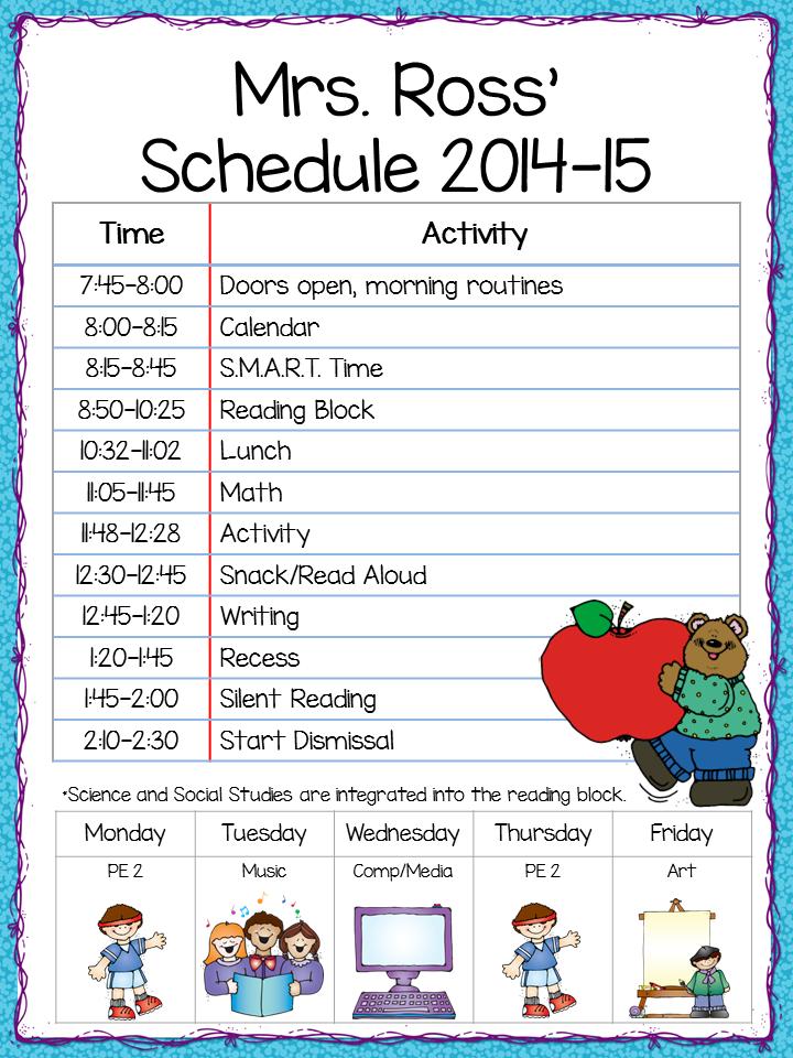 class schedule - freebie