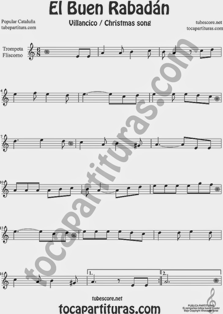 El Buen Rabadán Partitura de Trompeta y Fliscorno Sheet Music for Trumpet and Flugelhorn Music Scores Villancico Christmas Carol