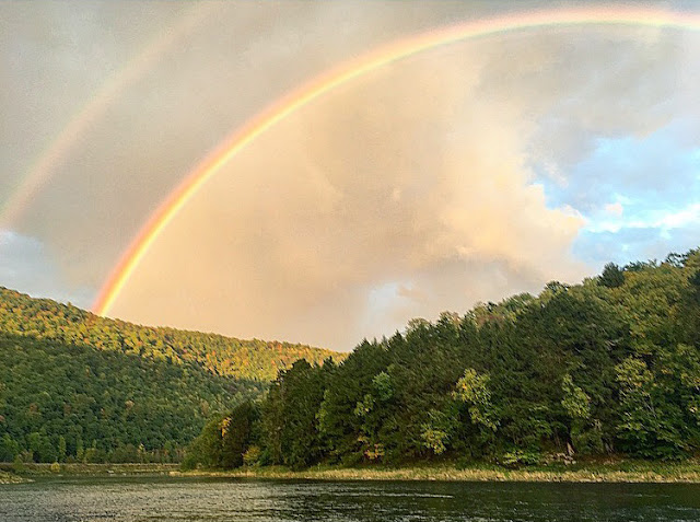 A gorgeous double rainbow on the Delaware river