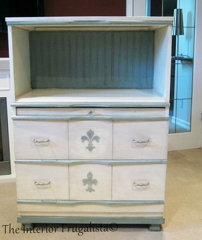 Faux Secretary with paintable bead board wallpaper back
