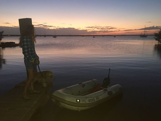 Tarpon Basin Dinghy Dock at dusk