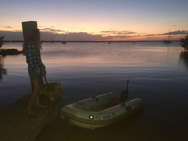 Tarpon Basin Dinghy Dock at dusk