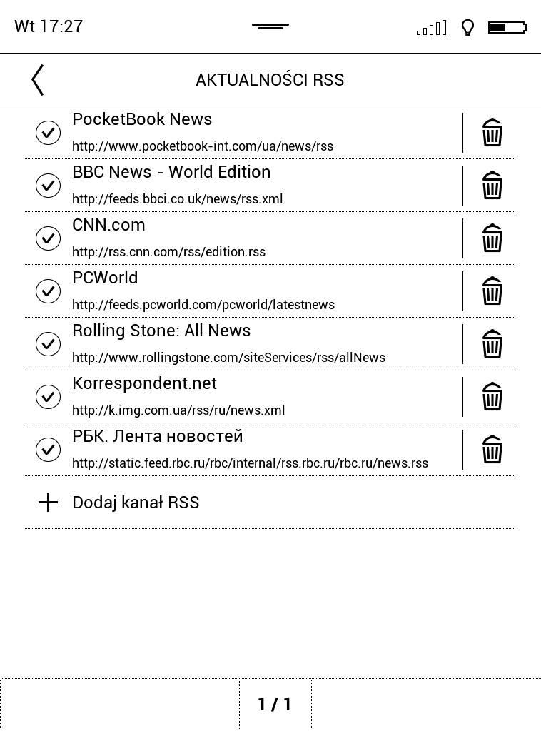 PocketBook Touch Lux 4 –lista kanałów RSS