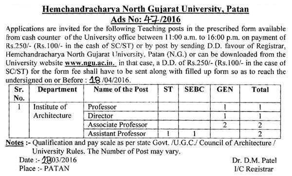 Hemchandracharya North Gujarat University Patan Various Recruitment 2016