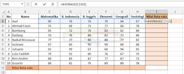 Cara Menghitung Nilai Rata-rata di Microsoft Excel