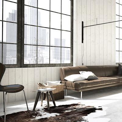 Interior empapelado con el papel madera 1023