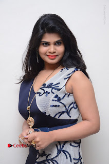 Telugu Actress Alekhya Stills in Blue Long Dress at Plus One ( 1) Audio Launch  0084.jpg