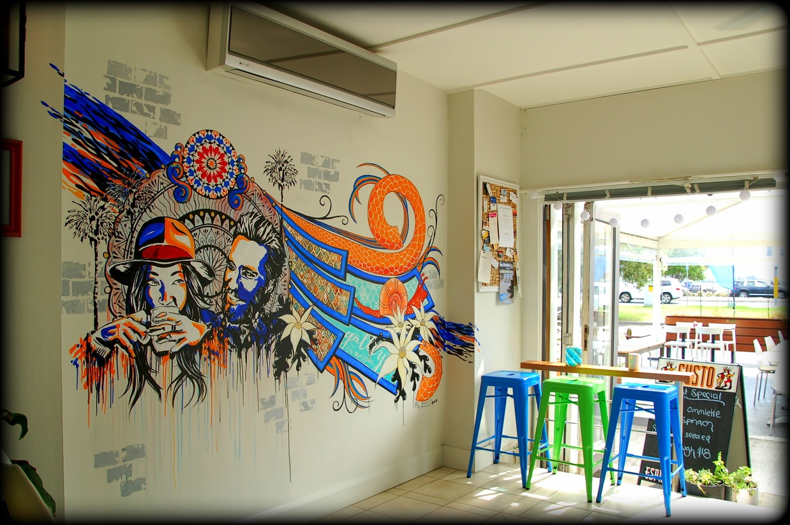 Painting Murals On Outside Walls Cat Soper Catdezign Galley On Masons Cafe  Gosford Mural