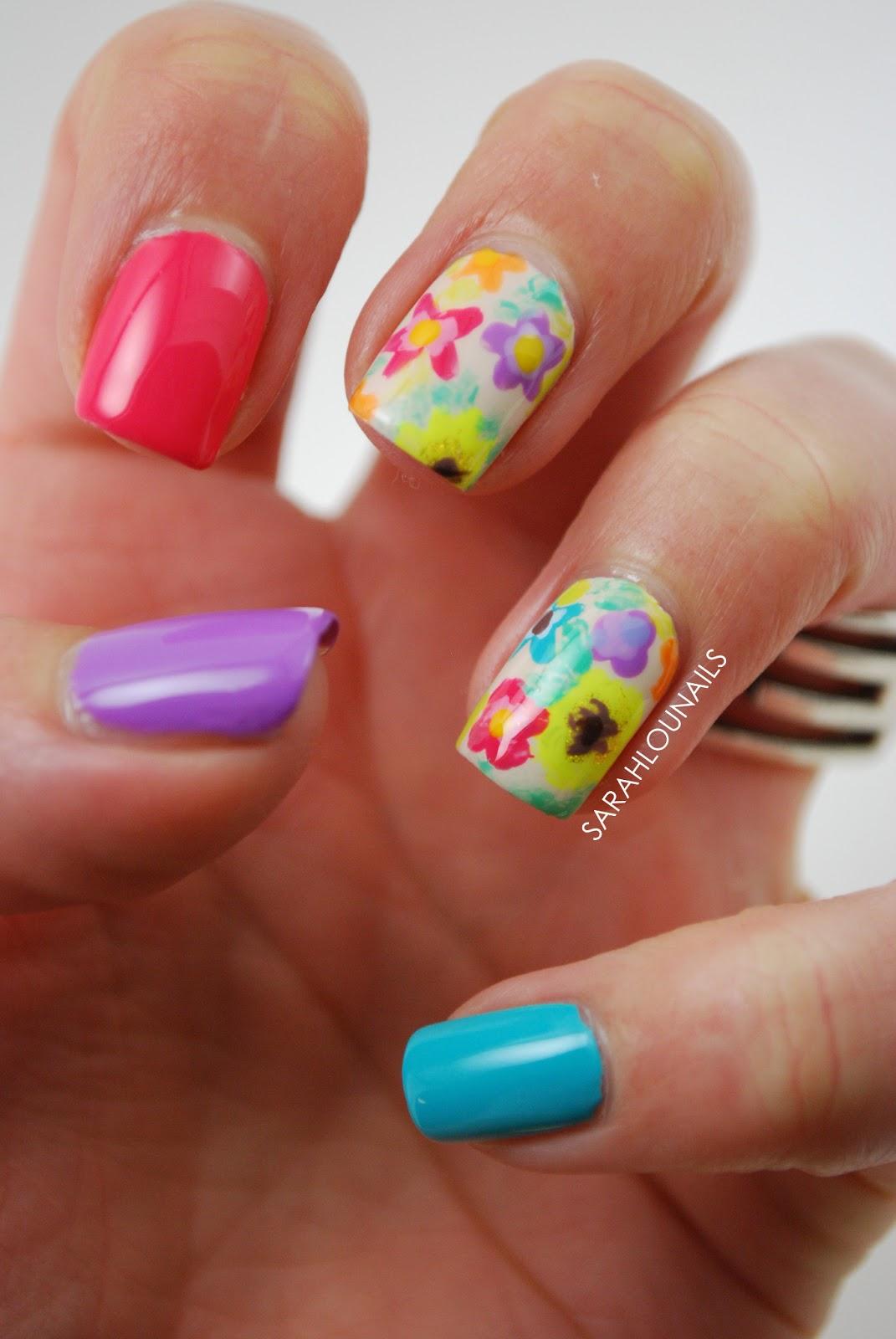 Sarah Lou Nails: Bright Summer Florals