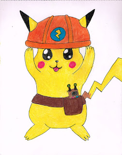 Drawing of Pikachu with helmet and tool belt