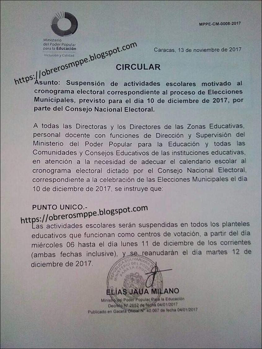 Suspensión de actividades escolares por cronograma electoral del 10 de diciembre, desde el miércoles 6 hasta el 11 de diciembre de los corrientes (ambas fechas inclusive)