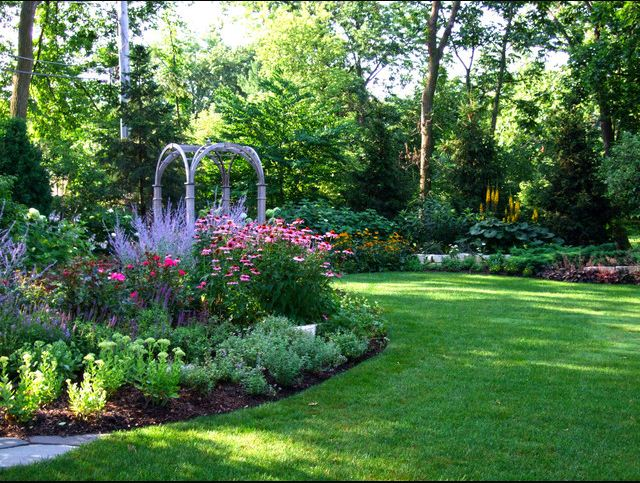 curved garden beds perennials plantings