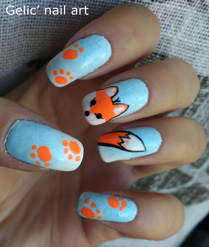Fox Nail Designs: Gelic' Nail Art: 31DC2013 Day 13; Fox Nail Art