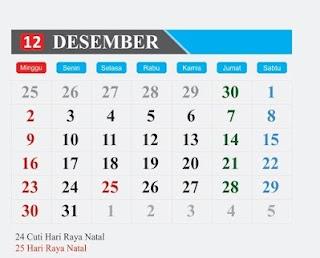 hari-peringatan-dan-libur-tanggal-merah-bulan-Desember-2018-kalender indonesia-kalender-dunia