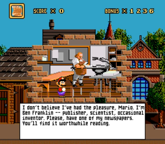 Benjamin Franklin in Mario's Time Machine SNES version