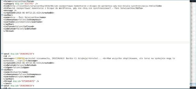 Edycja pliku xml z komentarzami z disqus