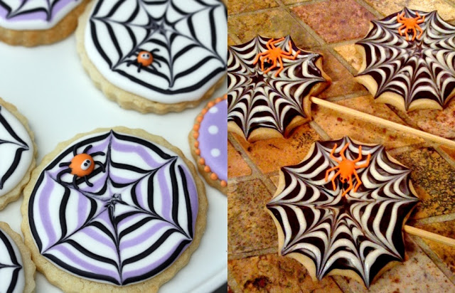 Spider Halloween cookies recipes for treats. Spider web cookies for Halloween treats. Simple Halloween food ideas for kids. Halloween treat for schools. Easy Halloween foods ideas for schools. Spooky Halloween DIY treats for kids. Best Halloween dessert ideas.