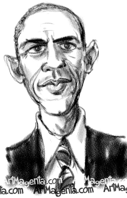 Barack Obama caricature cartoon. Portrait drawing by caricaturist Artmagenta