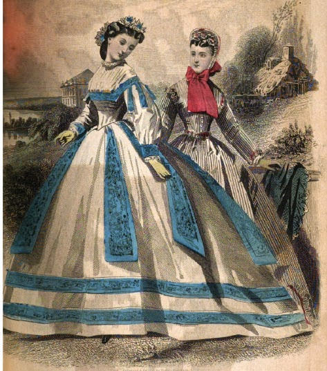 Apri 1865 Dresses from Peterson's Magazine