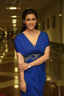 Mannara Chopra in Short Blue Dress at Rogue Movie Teaser Launch 1st March 2017 047.JPG