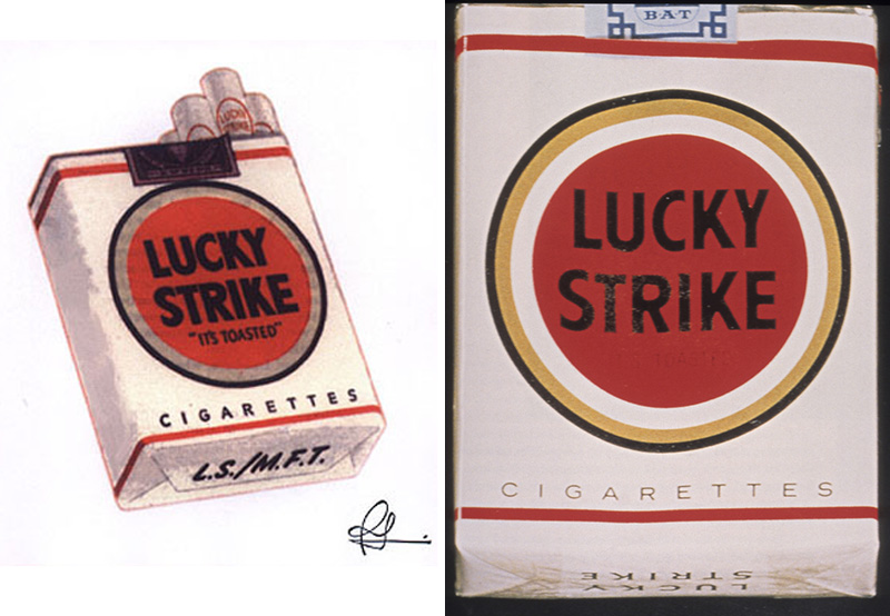 Lucky Strike logo and packaging by Raymond Loewy