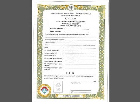 Download Juknis Pengisian Blangko Ijazah SPK 2019 Pdf