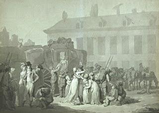 Louis-Léopold Boilly (1761-1845), Arrivée d'une diligence aux Messageries de Paris, 1803, Louvre.