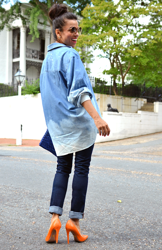 TIE DYED DENIM SHIRT STREET STYLE